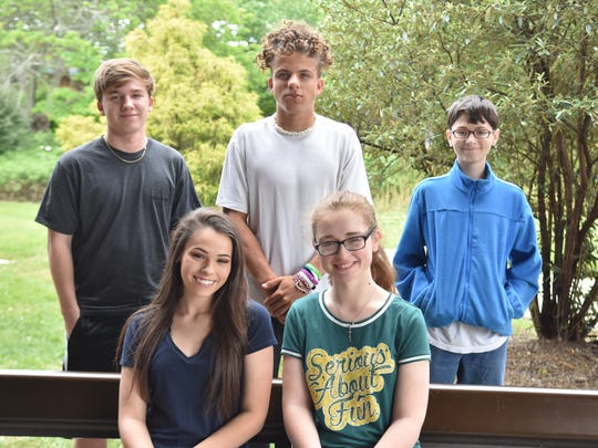 Gibbs High Eagles of the Month for April include (front) Randi Brown, Sara Salmons; (back) Zachary Bowlin, Troy Davis and Zachary Sprague. Not pictured are Jaklyn Rutter, Mason Robinson and Casey Atkins.