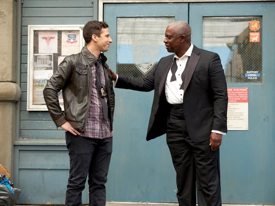 "Andy Samberg, left, and Andre Braugher will team up again when ""Brooklyn Nine-Nine,"" canceled by Fox last spring, moves to NBC in January."