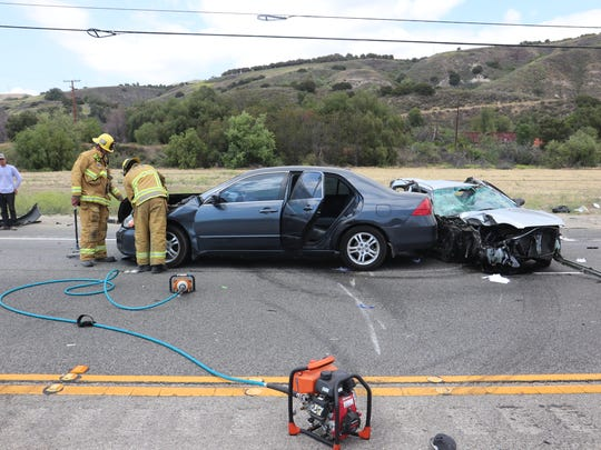 This was the scene after a multiple-vehicle crash May 31 in the 200 block of Telegraph Road in Fillmore. One person was killed and three were injured, authorities said.