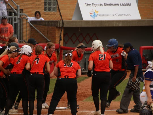 North Union celebrates a solo home run by Avery Clark