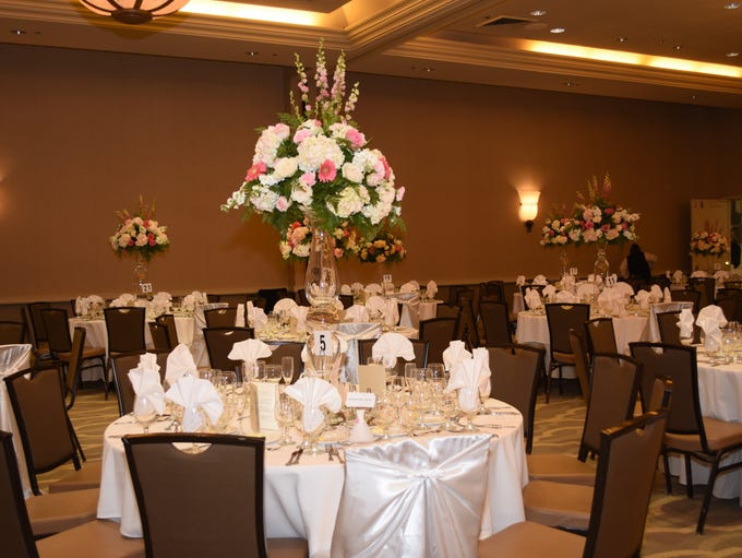 View of the table arrangments in the hall.