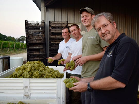 New Jersey Winemakers Mark Carduner from Working Dog (from left), Mike Beneduce from Beneduce, Sean Comninos from William Heritage and Zeke Johnsen from Unionville collaborate to create four versions of Open Source Chardonnay.