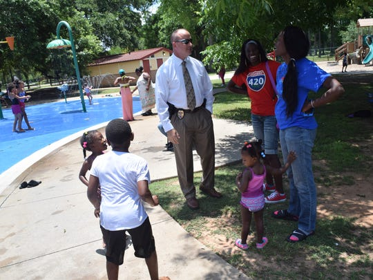 The Cenla Juvenile's Officers Association held a Splash Day Saturday, June 9, 2018, at the City Park splash pads. Event coordinators Adrean Bobb, with the Rapides Parish Sheriff's Office, and Terrance Howard, with the Alexandria Police Department, this was one of a number of events that the organization holds for children in the area. They also hold adult events to raise funds for the children's events. There were various games and activities for the kids such as jumpers and Hula Hoops and jump ropes. Jerrod King, the new Alexandria Police chief, was also on hand meeting the public.