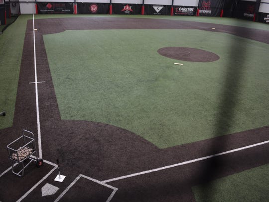 An indoor baseball facility at Stiks Academy and Sports