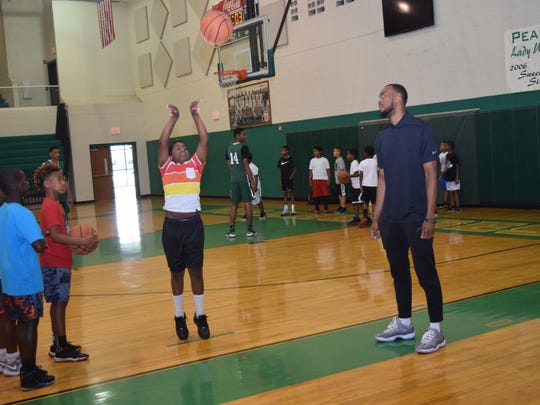 The fourth annual Markel Brown Basketball Camp was held Friday, June 15, 2018 at Peabody Magnet High School. The camp was free and limited to 100 participants. Brown is a former Peabody and Oklahoma State University basketball player. He a player with the Houston Rockets.
