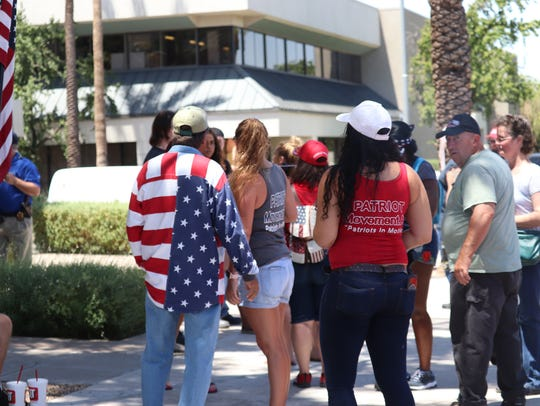 Counter-protesters from the Patriot Movement AZ gathered