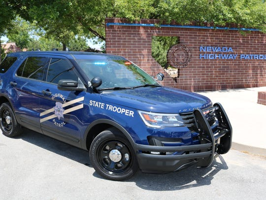 A side view of a Nevada Highway Patrol vehicle outfitted