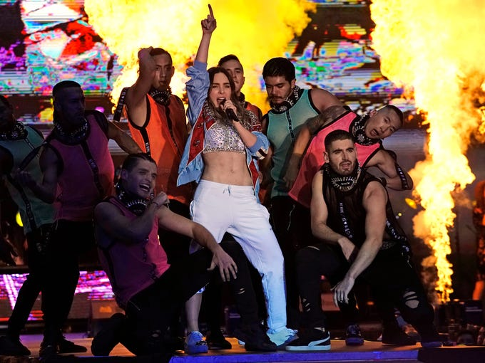 Mexican singer Belinda performs at the closing campaign