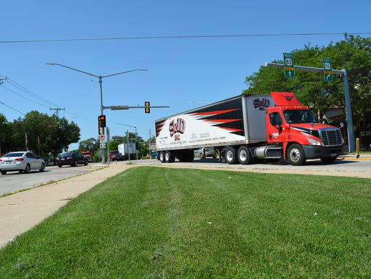 Traffic, including trucks, is often heavy at the intersection