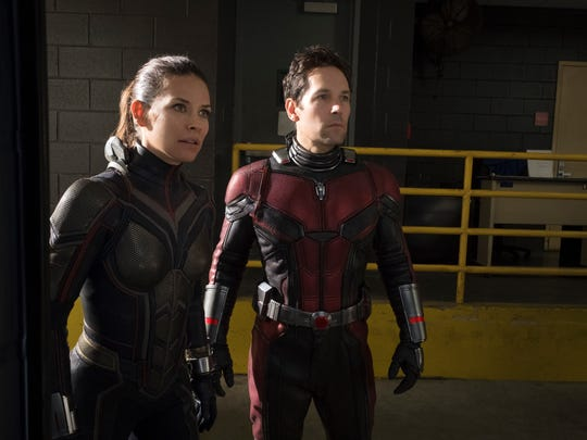 "Wasp (Evangeline Lilly) and Ant-Man (Paul Rudd) squash self-serious superhero tropes in Disney/Marvel's lighthearted ""Ant-Man and the Wasp."""