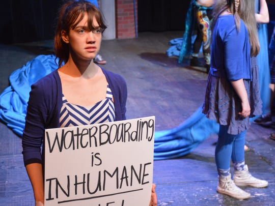 "College-Conservatory of Music Drama student Briley Oakley plays an activist in a production of ""H2O: A Play About Water."" The play, created by a group of CCM students under the guidance of professor Richard Hess, will open at Scotland's Edinburgh Fringe on August 4."