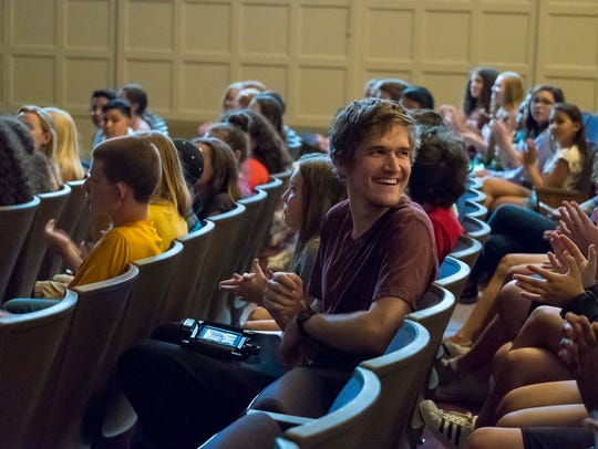"Writer/director Bo Burnham on the set of ""Eighth Grade."""