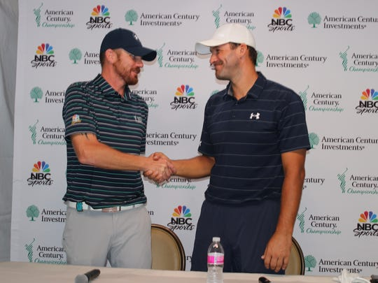 Andrew Batchelder, who won the Wounded Warrior Open, and Tony Romo shake hands after their news conference Wednesday at Edgewood Tahoe.