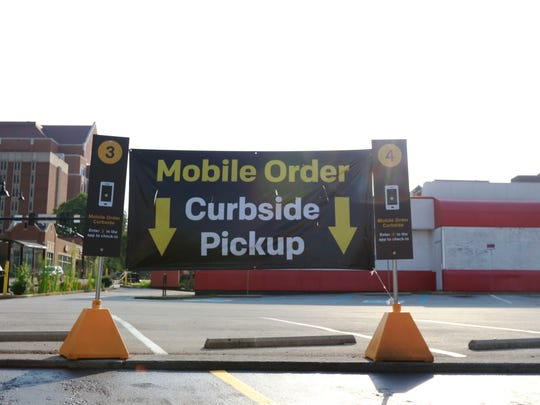 The mobile order curbside pickup section outside of the Cumberland Avenue McDonald's in Knoxville, Tennessee.