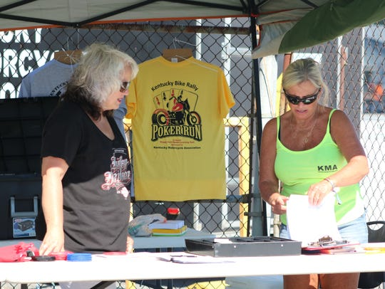 Angela Turner and Brenda Williams (right) count how
