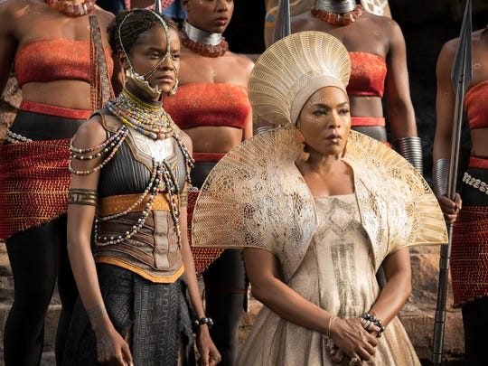 "Angela Basset plays the Queen Mother Ramonda and Letitia Wright plays her daughter Shuri in the blockbuster hit ""Black Panther."""