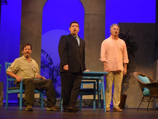 """Portraying the three potential fathers in LBM Productions' presentation of """"Mamma Mia!"""" are Timothy Saucier as Harry """"Head Banger"""" Bright (center); Brian Sullivan as Bill Austin (left) and John Sewell as Sam Carmichael."""