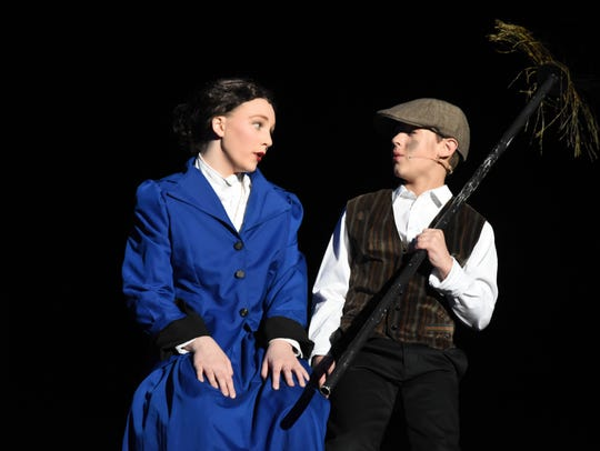 "Maggie Bell (left) portrays the lead role of Mary Poppins in Our Lady of Prompt Succor School's ""Mary Poppins, Jr.."" Sutton Blakesley as the chimney sweep Bert."