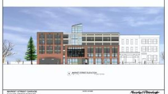 A rendering of the East Market Street parking garage.