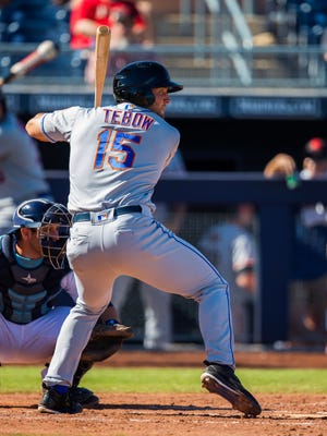 Tim Tebow did not get a hit in his first 13 Arizona Fall League at-bats before singling in his second at-bat Tuesday.