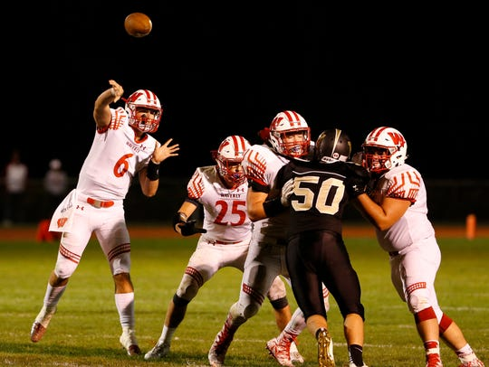 Waverly quarterback Gavin Gurreri-Judson passes during