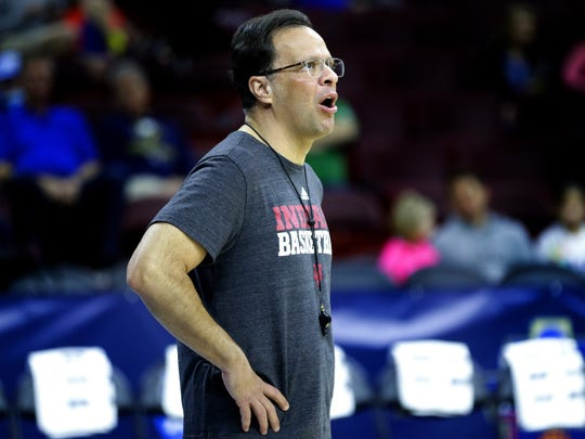 Indiana Hoosiers head coach Tom Crean gets after his team during practice inside The Wells Fargo Center in Philadelphia on March 24, 2016.