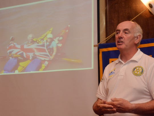 British Rotarian Ken Robertshaw gives a presentation to the Rotary Club of Avoyelles on the recent Mississippi River Challenge 2014 he and Grace Alsancak undertook to raise funs for Theodora Children's Trust. Both kayaked the entire length of the Mississippi River in 58 days.
