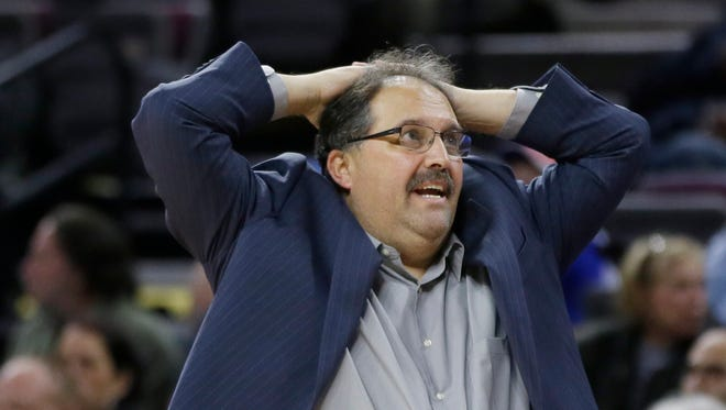 Detroit Pistons head coach Stan Van Gundy reacts to a call during the second half of an NBA basketball game against the Orlando Magic in Auburn Hills, Mich., Monday, Nov. 17, 2014.