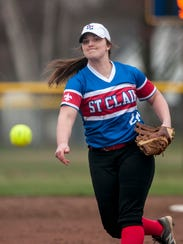 St. Clair's Olivia Young throws a pitch during a softball