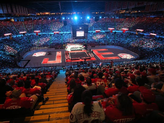 Red Wings fans enjoy a postgame ceremony to celebrate