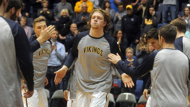 Augustana's Dan Jansen is introduced during their game against Minnesota-Crookston on Feb. 24, 2016 at Sioux Falls Arena.