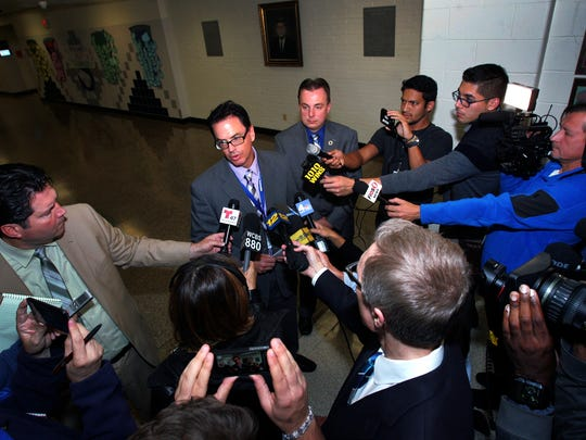 Sayreville Superintendent Richard Labbe talks to the media after a meeting last week.