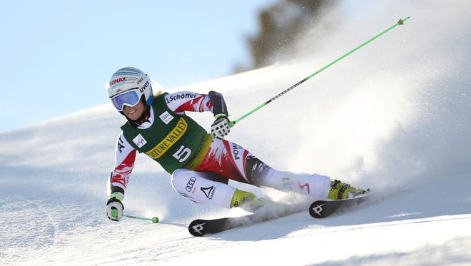 Eva-Maria Brem (AUT) makes a turn on the first run of the women's giant slalom in the FIS alpine skiing World Cup at Aspen Mountain. Brem finished first after the second run Saturday.