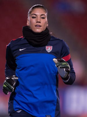 USA goalkeeper Hope Solo (1) before the match against the Canada womens team at Toyota Stadium.