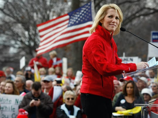 WASHINGTON - DECEMBER 15:  Conservative radio host and commentator Laura Ingraham addresses a health care reform protest on December 15, 2009 in Washington, DC. Demonstrators, many bused in from around the country, protested next to the Capitol building hoping to derail Senate health care legislation.  (Photo by John Moore/Getty Images) ORG XMIT: 53355759 GTY ID: 55759JM018_CONSERVATIVES