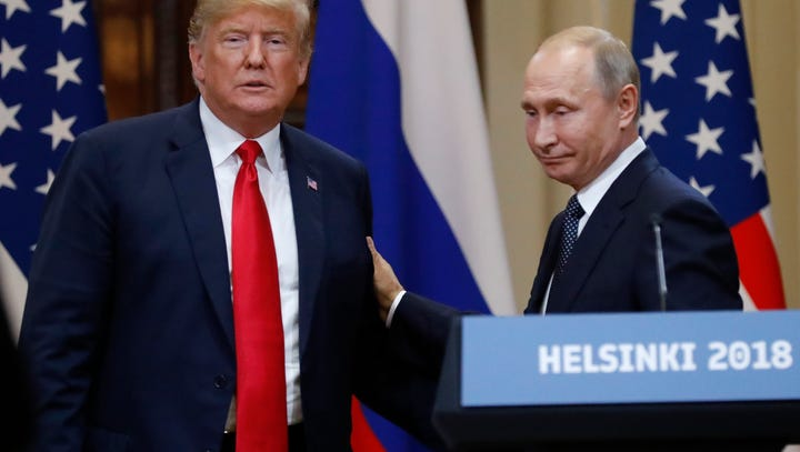 President Trump and Vladimir Putin in Helsinki.
