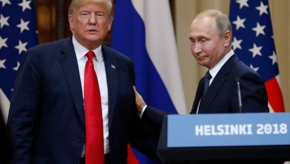 President Donald Trump and Vladimir Putin in Helsinki.