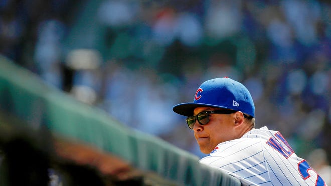 Cubs first base coach Will Venable was hired by Theo Epstein in Chicago in 2017.