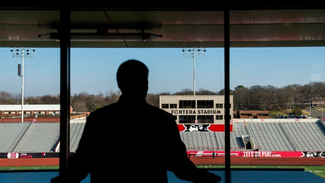 Will Healy looks out to Fortera Stadium on December 15, 2017.