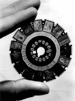 Eastman Kodak launched the disc camera in the 1980s. Its film featured individual tiny color negatives attached along the edge of a revolving circular disk.