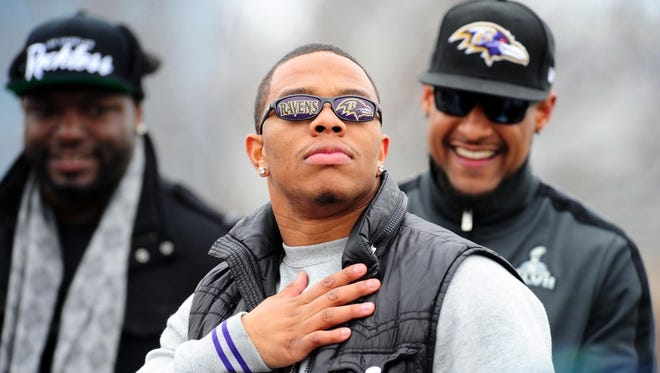 Baltimore Ravens running back Ray Rice (27) looks on during the Super Bowl XLVII victory parade at M&T Bank Stadium.
