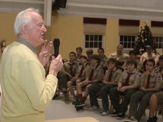 Ralph Jeffers speaks to Boy Scouts in 2011.