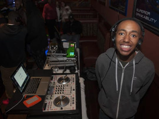 Nick Tyson (DJ Nick) poses for a photo at an event on Tuesday night. at Roman's Pizza in Pennsauken. Nick, 16, is autistic and has a gift for DJing. He has been part of the International DJ CafŽe, which meets every other Tuesday at Roman's Pizza in Pennsauken.