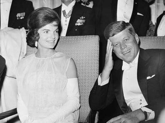 First lady Jacqueline Kennedy and President John F. Kennedy are seated as they attend one of five inaugural balls on Jan. 20, 1961, in Washington, DC.