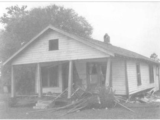 The home of the Moore's following the bomb blast that