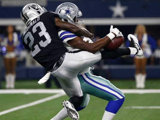 Oakland Raiders cornerback Dexter McDonald (23) breaks up a pass intended for Dallas Cowboys wide receiver Noah Brown (85) in the second half of a preseason NFL football game, Saturday, Aug. 26, 2017, in Arlington, Texas. (AP Photo/Ron Jenkins)