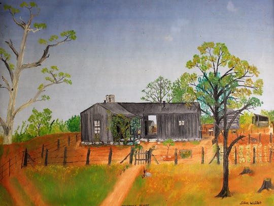 """Singer-songwriter-disc jockey Slim Willet did not name many of his paintings, but this one is titled """"Grandma's House."""" It was in Victor, not far from Dublin and De Leon."""