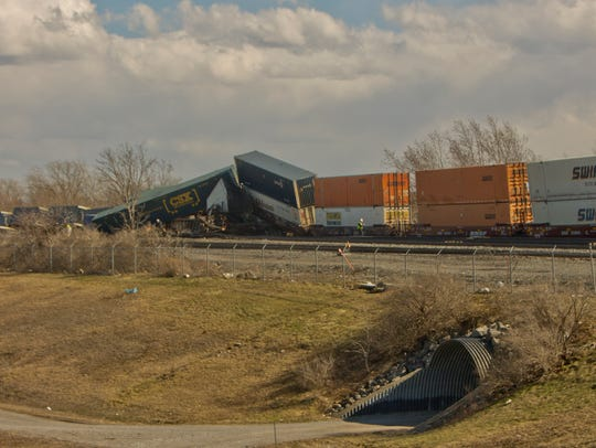 A CSX freight train derailed in high winds Wednesday