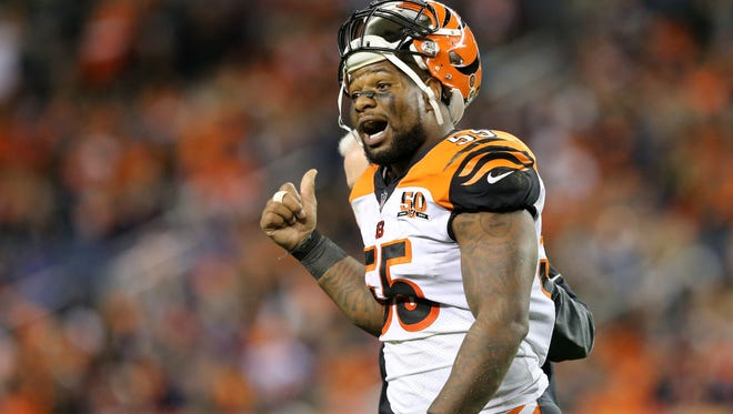 Cincinnati Bengals outside linebacker Vontaze Burfict (55) gestures toward the sideline in the fourth quarter during the Week 11 NFL game between the Cincinnati Bengals and the Denver Broncos, Sunday, Nov. 19, 2017, at Sports Authority Field at Mile High in Denver, Colorado.