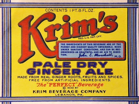 A 1930s era Krim Ginger Ale label shows the Krim family
